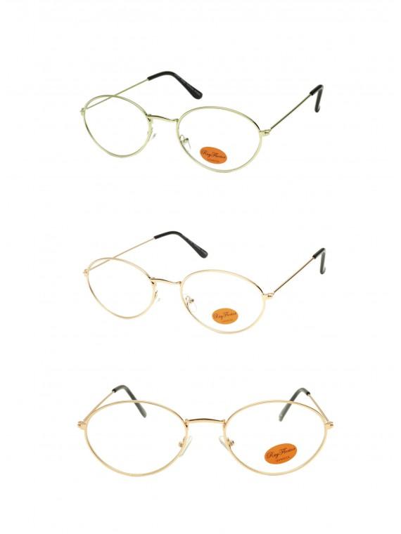 Borrie Retro Metal Frame Sunglasses, Clear Lens Asst