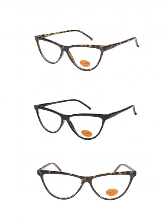 Trian Retro Cat Eye Style Sunglasses, Clear Lens Asst