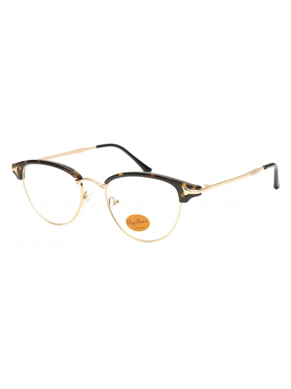 Faz Retro Clubmaster Style Sunglasses, Clear Lens Asst