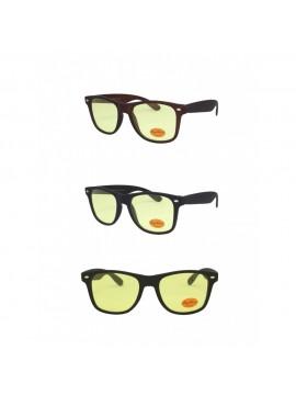 Erola Wayfarer Style Sunglasses, Rubber Matt Asst Yellow