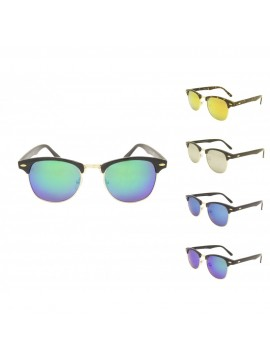 Classic Clubmaster Sunglasses, Color Mirror Lens Asst