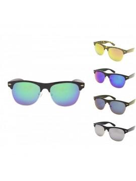 Biona Classic Clubmaster Sunglasses, Mirrored Lens Asst