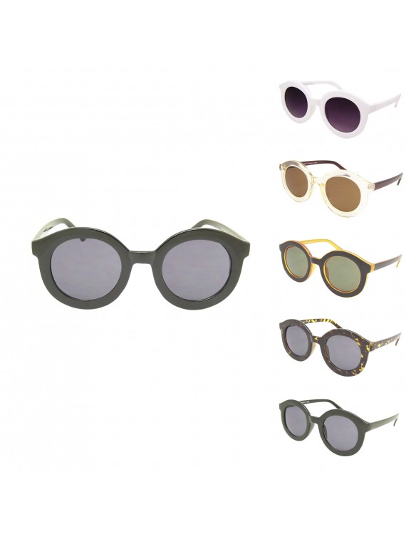 Bozis Round Vintage Remade Sunglasses, Normal Lens Asst