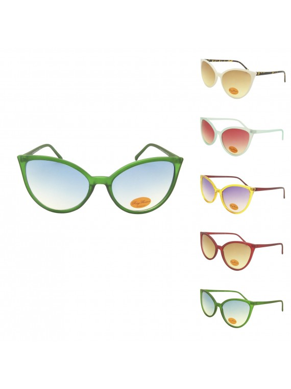Chalix Oversized Cat Eye Pastel Color Sunglasses, Asst