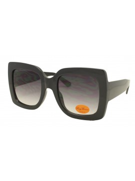 Lex Colorful Lens Oversized Fashion Sunglasses, Shiny Black With Smoked Gradient Lens