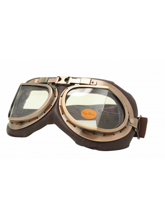 Coblie Steampunk Goggles Sunglasses, Bronze Frame With Clear Lens