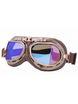 Coblie Steampunk Goggles Sunglasses, Bronze Frame With Blue Mirror Lens