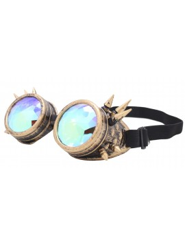 Carrmi Steampunk Goggles Sunglasses, Rusty Yellow Frame With Diamond Cut Lens