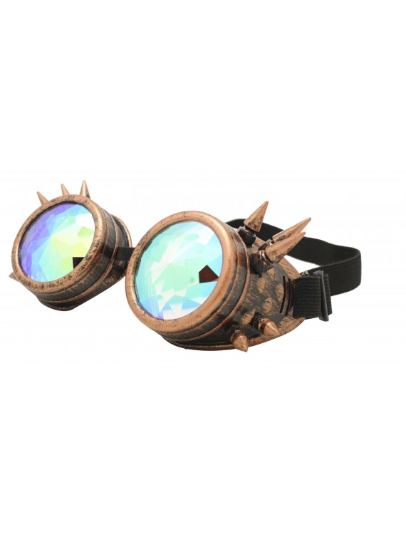 Carrmi Steampunk Goggles Sunglasses, Rusty Redish Frame With Diamond Cut Lens
