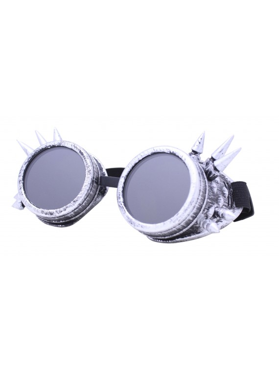 Gothic Steampunk Goggles Retro Party Sunglasses, Rusty Silver With Smoked Lens