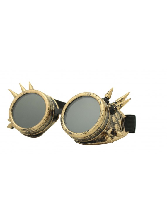 Gothic Steampunk Goggles Retro Party Sunglasses, Rusty Yellow With Smoked Lens