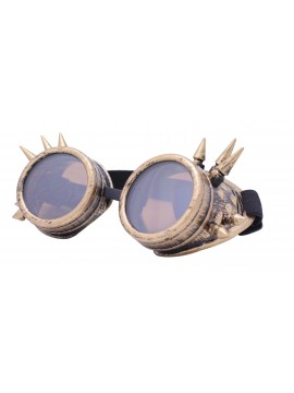 Gothic Steampunk Goggles Retro Party Sunglasses, Rusty Yellow With Brown Lens