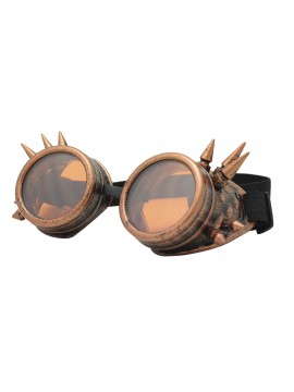 Gothic Steampunk Goggles Retro Party Sunglasses, Rusty Redish With Orange Lens