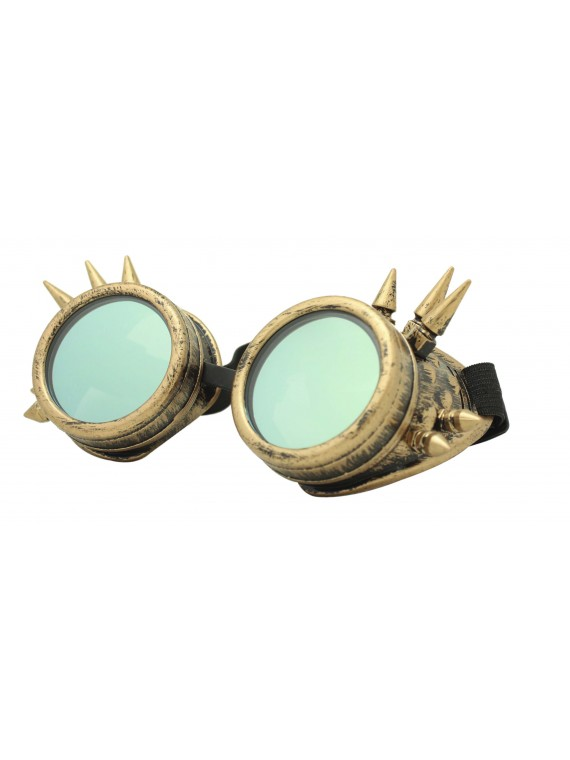Gothic Steampunk Goggles Retro Party Sunglasses, Rusty Yellow With Gold Mirror Lens