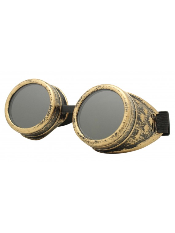 Rustic Steampunk Goggles Party Sunglasses,  Rusty Yellow With Smoked Lens