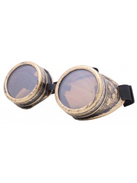 Rustic Steampunk Goggles Party Sunglasses, Rusty Yellow With Brown Lens