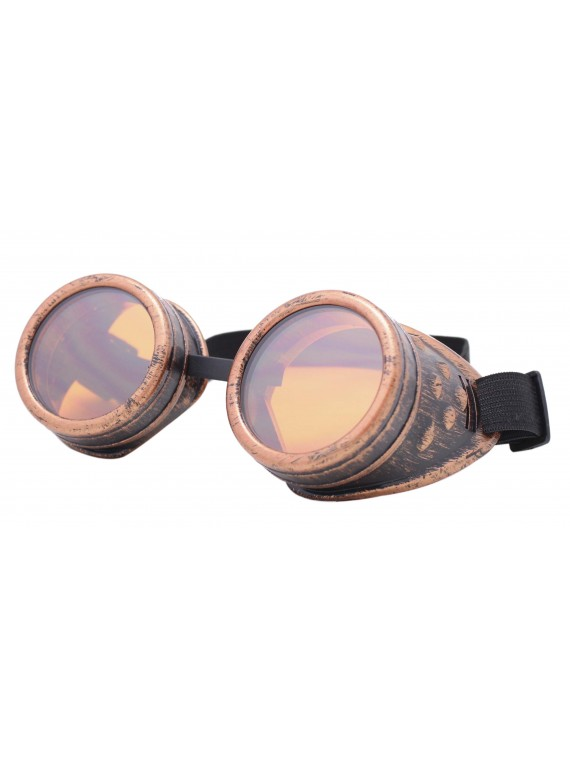Rustic Steampunk Goggles Party Sunglasses, Rusty Redish With Orange Lens