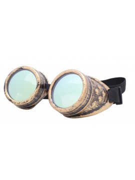 Rustic Steampunk Goggles Party Sunglasses, Rusty Yellow With Gold Mirrored Lens