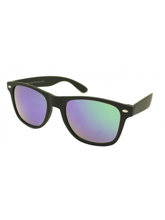 Erola Wayfarer Style Sunglasses, Rubber Matt Black Frame With Green Mirror Lens