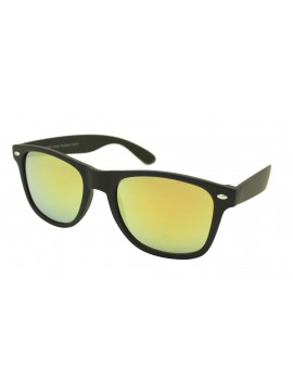 Erola Wayfarer Style Sunglasses, Rubber Matt Black Frame With Red Mirror Lens