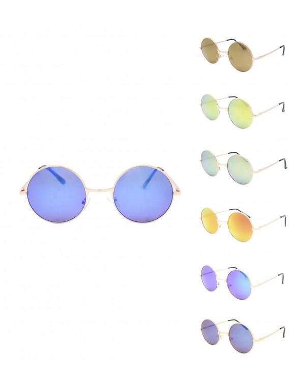 Korda Round John Lennon Sunglasses, Colour Mirrored Lens Asst
