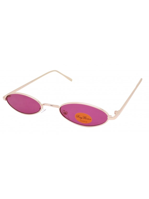 Giee Narrow Metal Frame Retro Color Lens Sunglasses, Asst