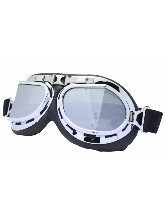 Nochy Steampunk Goggles Sunglasses, Silver Mirror Lens