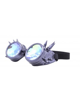 Carrmi Steampunk Goggles Sunglasses, Metalic Grey
