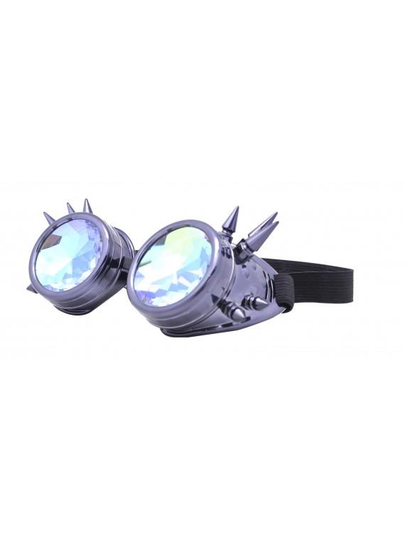 Carrmi Steampunk Goggles Sunglasses, Metalic Grey