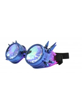 Carrmi Steampunk Goggles Sunglasses, Blue Pink