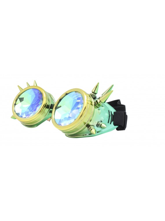 Carrmi Steampunk Goggles Sunglasses, Green Gold