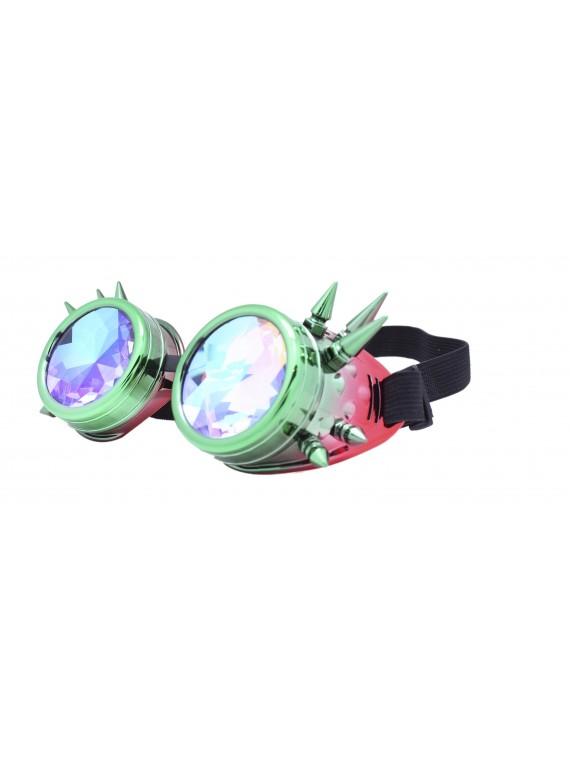 Carrmi Steampunk Goggles Sunglasses, Green Red