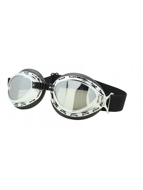 Harol Steampunk Goggles Sunglasses, Silver Mirror Lens