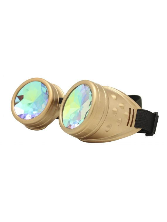 Renc Steampunk Goggles Sunglasses, Gold