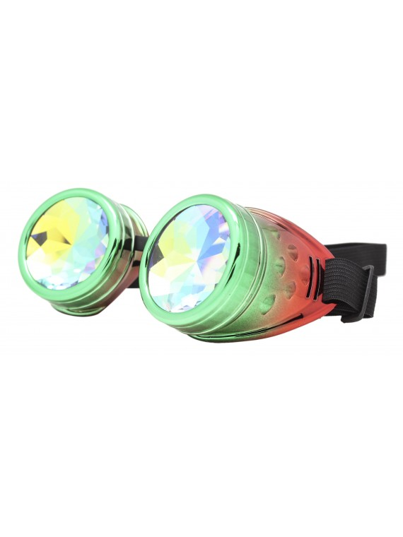 Renc Steampunk Goggles Sunglasses, Green Red