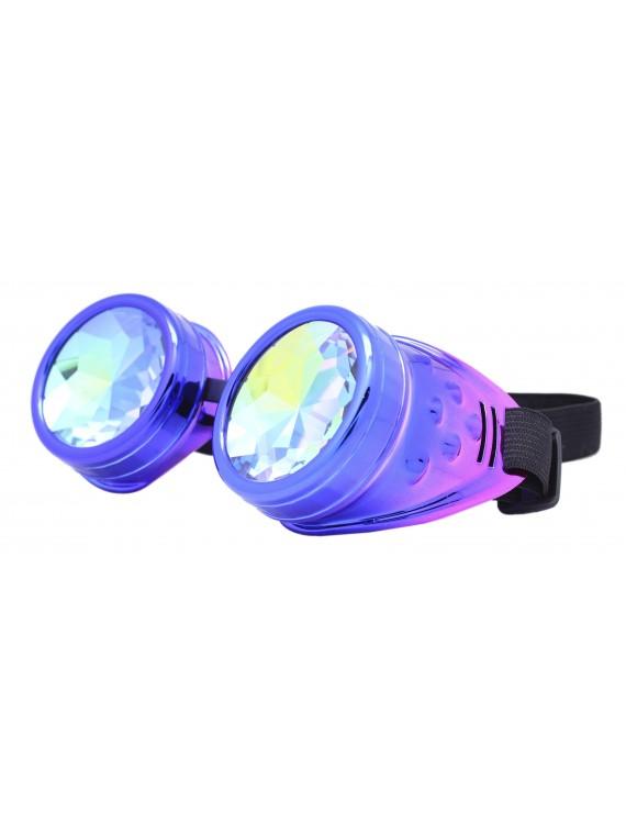 Renc Steampunk Goggles Sunglasses, Metalic Blue Pink
