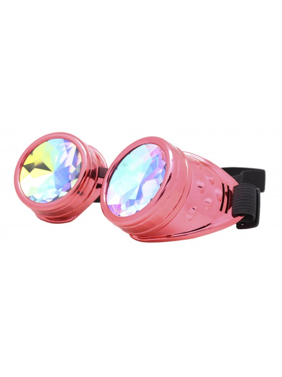 Renc Steampunk Goggles Sunglasses, Metalic Red