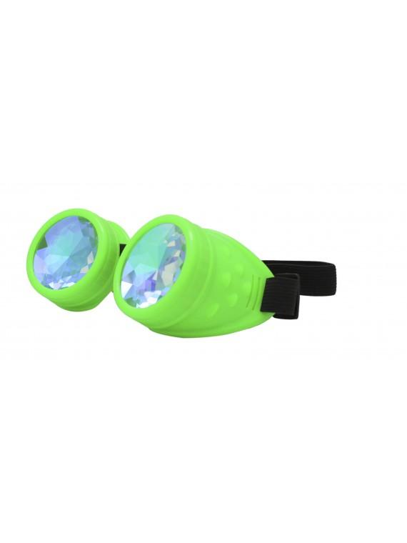 Renc Steampunk Goggles Sunglasses, Neon Green