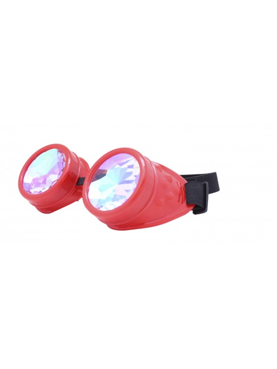 Renc Steampunk Goggles Sunglasses, Red