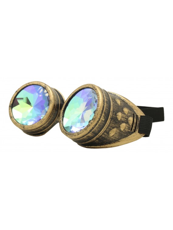 Renc Steampunk Goggles Sunglasses, Rusty Gold