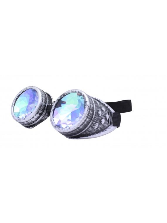 Renc Steampunk Goggles Sunglasses, Rusty Silver