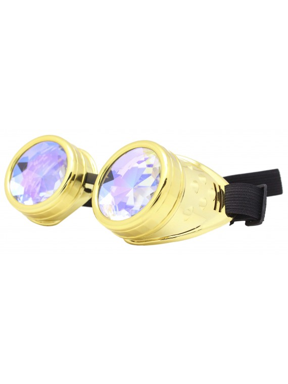 Renc Steampunk Goggles Sunglasses, Shiny Gold