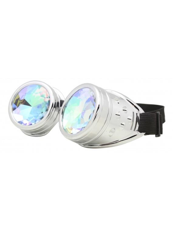Renc Steampunk Goggles Sunglasses, Shiny Silver