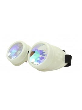 Renc Steampunk Goggles Sunglasses, White