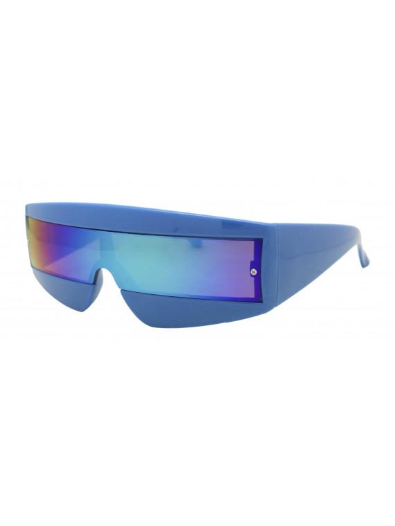 Robo Cop Wrap Around Sport Party Sunglasses, Shiny Blue
