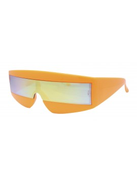 Robo Cop Wrap Around Sport Party Sunglasses, Smoke With Orange Mirror Lens