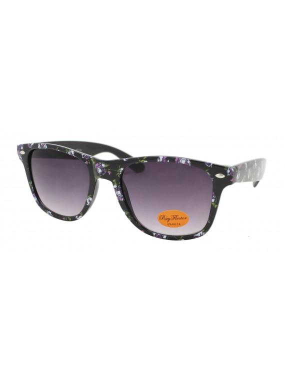 Florie Flowers Pattern Wayfarer Sunglasses, Asst