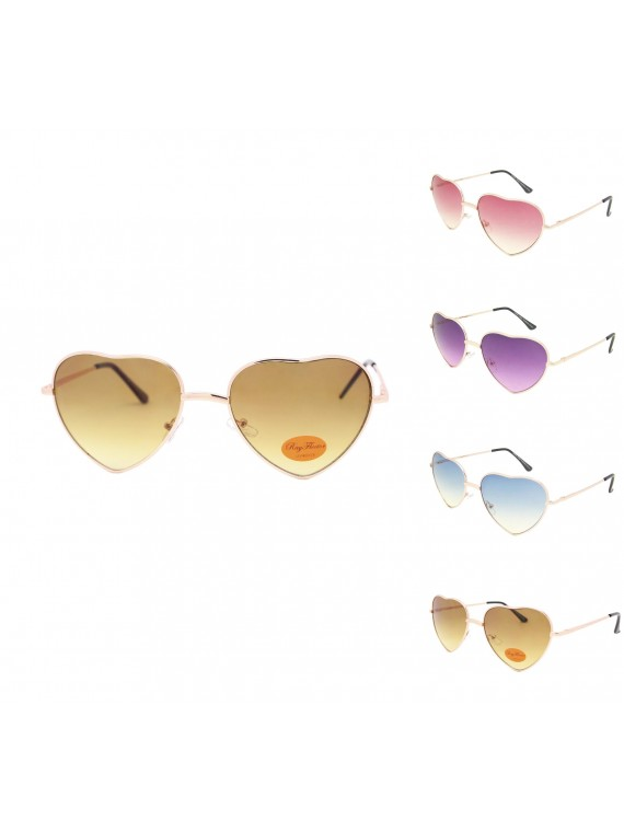 Classic Heart Shape Metal Frame Aviator Sunglasses Assorted(Version 2)