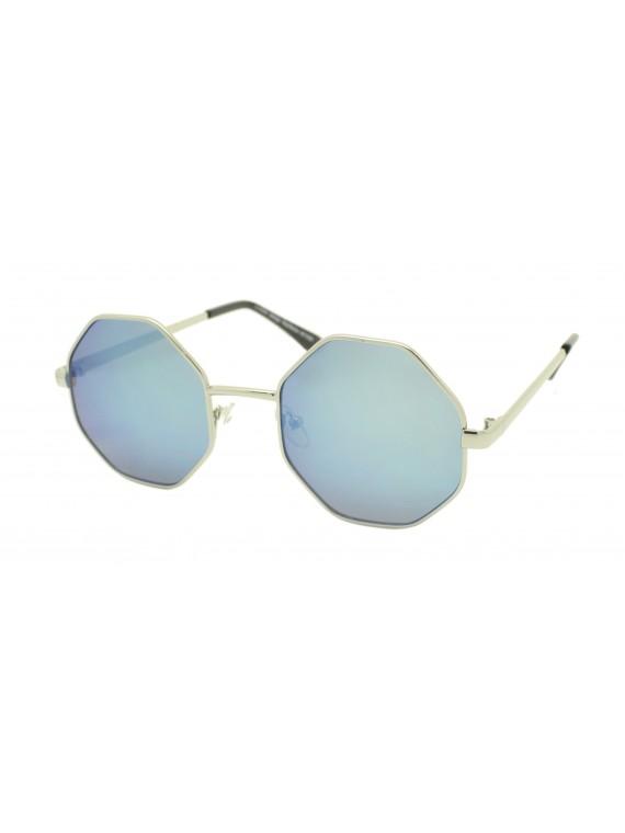 Riko Octagon Sunglasses, Mirrored Lens Asst