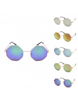 Riko Octagon Sunglasses, Mirrored Lens Asst